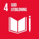 Öppen bok och penna bredvid. Globalt mål: God utbildning