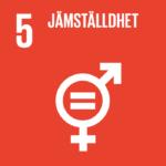 Symbol för de binära könen man och kvinna tillsammans med ett likatecken i mitten. Globalt mål: Jämställdhet