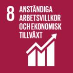 Tabell-statistik som växer uppåt. Globalt mål: Anständiga arbetsvillkor och ekonomisk tillväxt