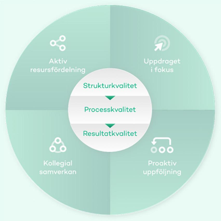 AcadeMediamodellens mittersta det, strukturkvalitet, processkvalitet, resultatkvalitet